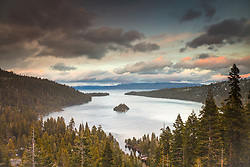 """Emerald Bay Sunset 1"" - Photograph of Emerald Bay and Fannette Island at Lake Tahoe, shot at sunset."