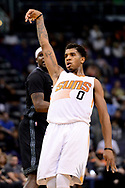 Jan 30, 2017; Phoenix, AZ, USA; Phoenix Suns forward Marquese Chriss (0) reacts after shooting the basket in the second half of the NBA game against the Memphis Grizzlies at Talking Stick Resort Arena. The Memphis Grizzlies won 115-96. Mandatory Credit: Jennifer Stewart-USA TODAY Sports