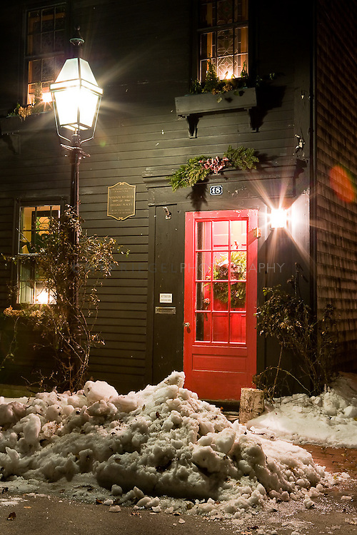 A house in Newport's Point District decorated for the holidays