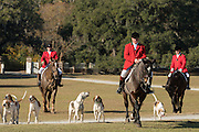 Huntsman Willie Dunn leads the hounds on the Greenswald for the annual Blessing marking the start of the Fox Hunting season at Middleton Place Plantation November 27, 2016 in Charleston, SC. Fox hunting in Charleston is a drag hunt using a scented cloth to simulate a fox and no animals are injured.
