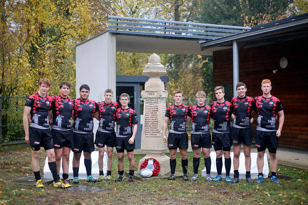 10 November 2018. Rugby Club Compiègne. Compèigne, Somme, France.<br /> Tournio Rugby de l'Armistice.<br /> A rugby tournament in the heart of the Somme region in honour of those who perished in the Great War100 years ago.<br /> <br /> Peter Symonds College U18 Rugby team from England.<br /> <br /> Photo©; Charlie Varley/varleypix.com