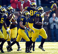 MORNING JOURNAL/DAVID RICHARD.Michigan tackle Gabe Watson, right, and the Wolverines celebrate one of the many Ohio State turnovers yesterday.