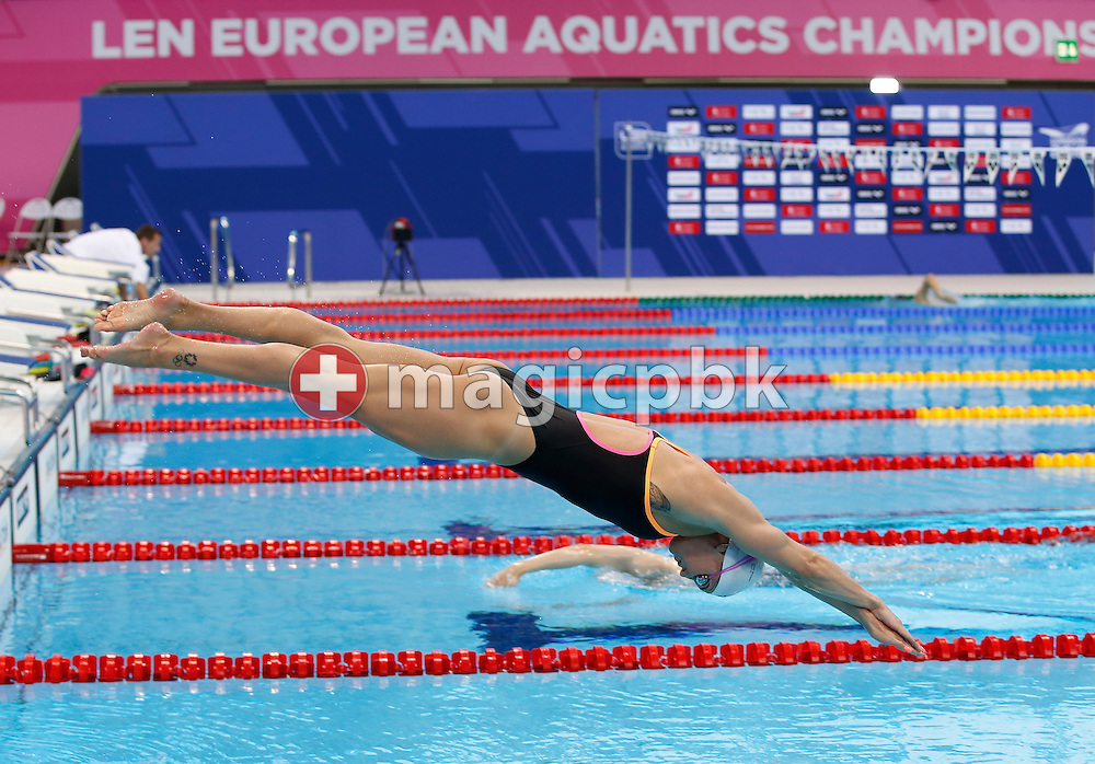 Jeanette OTTESEN of Denmark dives off the block during a training session 2 days prior to the start of the LEN European Swimming Championships held at the London Aquatics Centre in London, Great Britain, Saturday, May 14, 2016. (Photo by Patrick B. Kraemer / MAGICPBK)