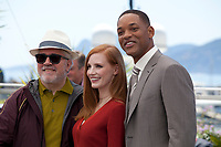 Director and President of the Jury Pedro Almodóvar, actress Jessica Chastain and actor Will Smith at the Members of the Jury photocall at the 70th Cannes Film Festival Wednesday May 17th 2017, Cannes, France. Photo credit: Doreen Kennedy