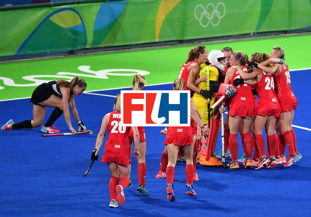 Britain's players celebrate after winning the women's semifinal field hockey New Zealand vs Britain match of the Rio 2016 Olympics Games at the Olympic Hockey Centre in Rio de Janeiro on August 17, 2016. / AFP / Pascal GUYOT        (Photo credit should read PASCAL GUYOT/AFP/Getty Images)