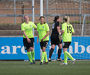 Forfar Farmington (red) v Hibernian Ladies in the Scottish Womens' Premier League at Station Park, Forfar. Photo: David Young<br /> <br />  - © David Young - www.davidyoungphoto.co.uk - email: davidyoungphoto@gmail.com