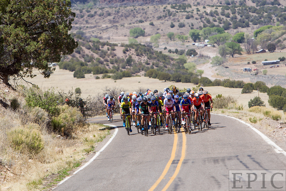 SILVERY CITY, NM - APRIL 18: The mens field hits the final climb on stage 1 of the Tour of The Gila on April 18, 2018 in Silver City, New Mexico. (Photo by Jonathan Devich/Epicimages.us)