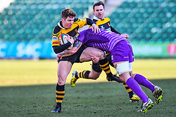 Newport's Matt O'Brien is tackled by Ebbw Vale's Rhys Clarke - Mandatory by-line: Craig Thomas/Replay images - 04/02/2018 - RUGBY - Rodney Parade - Newport, Wales - Newport v Ebbw Vale - Principality Premiership