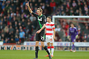 Stoke City forward Peter Crouch  scores for Stoke City  during the The FA Cup third round match between Doncaster Rovers and Stoke City at the Keepmoat Stadium, Doncaster, England on 9 January 2016. Photo by Simon Davies.