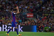 Sergio Busquets leave the match during the La Liga match between Barcelona and Atletico Madrid at Camp Nou, Barcelona, Spain on 21 September 2016. Photo by Eric Alonso.