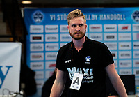2019-04-23 | Jönköping, Sweden: IF Hallby HK tränare Jesper Östlund after the win in the qualifying game 4 to Swedish Handball League between IF Hallby HK and HIF Karlskrona at Idrottshuset ( Photo by: Marcus Vilson | Swe Press Photo )<br /> <br /> Keywords: Idrottshuset, Jönköping, Handball, Qualifying Game 4, IF Hallby HK, HIF Karlskrona, Sport