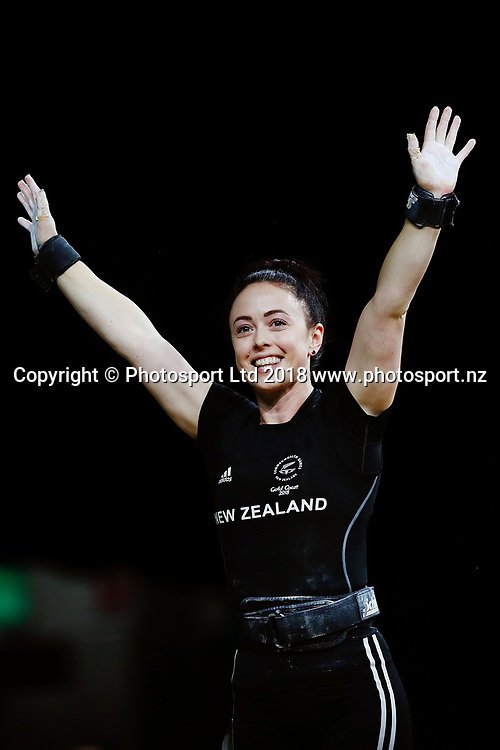 Phillipa Patterson of New Zealand competes in the Women's 53kg Final. Gold Coast 2018 Commonwealth Games, Weightlifting, Gold Coast, Australia. 6 April 2018 © Copyright Photo: Anthony Au-Yeung / www.photosport.nz