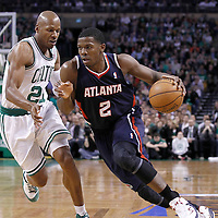 10 May 2012: Atlanta Hawks shooting guard Joe Johnson (2) drives past Boston Celtics shooting guard Ray Allen (20) during the Boston Celtics 83-80 victory over the Atlanta Hawks, in Game 6 of the Eastern Conference first-round playoff series, at the TD Banknorth Garden, Boston, Massachusetts, USA.