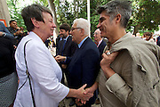 "Venice, Italy - 15th Architecture Biennale 2016, ""Reporting from the Front"".<br /> Giardini.<br /> German Pavilion. MAKING HEIMAT. Germany, Arrival Country. Opening with German Minister of Construction, Mrs. Barbara Hendricks (white jacket), here with Biennale President Paolo Baratta (m.) and Architecture Biennale 2016 Director Alejandro Aravena."