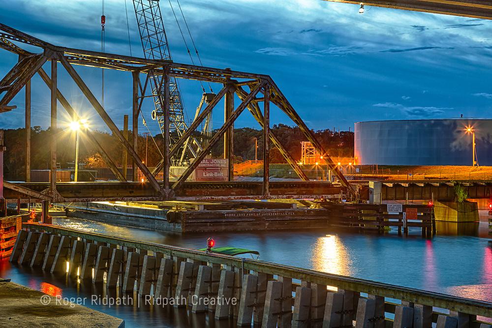 train bridge construction at sunset Orlando Florida