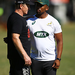 Dick Muir as an attack and backline consultant of the Cell C Sharks with Mzwandile Stick (Backline Coach) of South Africa during the cell c sharks training session at Jonsson Kings Park Stadium,Durban.South Africa. 08,05,2018 Photo by Steve Haag)