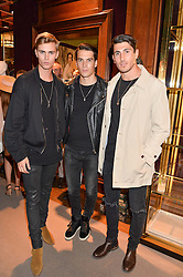 Left to right, SAM HOWARD, HARRY ROWLEY and ELLIOT HILL at the opening of the exhibition 'My Mother Was A Reeler' at Etro, 43 Old Bond Street, London on 5th October 2016.