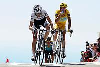 Sykkel<br /> Tour de France<br /> Foto: DPPI/Digitalsport<br /> NORWAY ONLY<br /> <br /> CYCLING - TOUR DE FRANCE 2009 - MONT VENTOUX (FRA) - 25/07/2009 <br /> <br /> STAGE 20 - MONTELIMAR > MONT VENTOUX - ALBERTO CONTADOR (ESP) / ASTANA / LEADER - ANDY SCHLECK (LUX) / TEAM SAXO BANK - LANCE ARMSTRONG (USA) / ASTANA