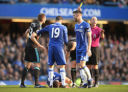 Michy Batshuayi of Chelsea is shown a yellow card. - Mandatory by-line: Alex James/JMP - 11/12/2016 - FOOTBALL - Stamford Bridge - London, England - Chelsea v West Bromwich Albion - Premier League