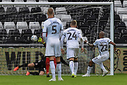 Goal - Andre Ayew (22) of Swansea City scores a goal from the penalty spot to give a 1-0 lead during the EFL Sky Bet Championship match between Swansea City and Middlesbrough at the Liberty Stadium, Swansea, Wales on 14 December 2019.