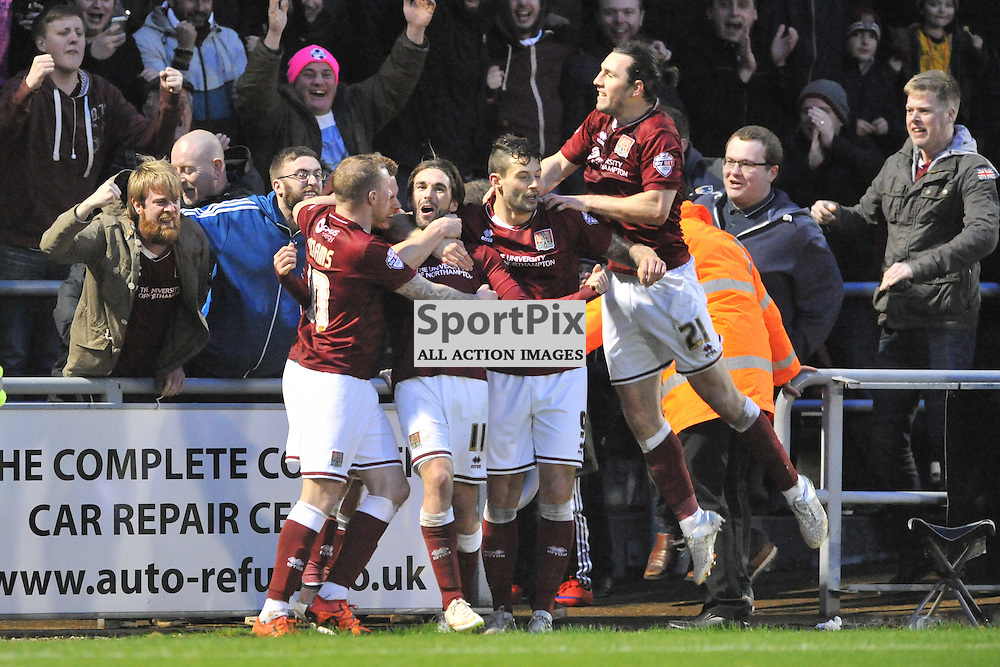 Northampton Celebrate Their Second Goal, Northampton Town v MK Dons, FA Cup 3rd Round,  Sixfiels Stadium, Saturday 9th January 2016