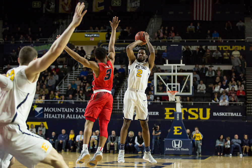February 1, 2018 - Johnson City, Tennessee - Freedom Hall: ETSU forward David Burrell (2)<br /> <br /> Image Credit: Dakota Hamilton/ETSU