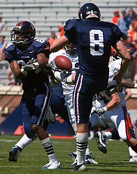 Virginia wide receiver Jared Green (84) blocks a punt by Virginia punter Jimmy Howell (8) during the spring game.  The Virginia Cavaliers football team played the annual spring football scrimmage at Scott Stadium on the Grounds of the University of Virginia in Charlottesville, VA on April 18, 2009.  (Special to the Daily Progress / Jason O. Watson)