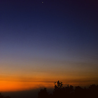 Sunrises over jungle covered Mayan temples with star overhead, Tikal Guatemala