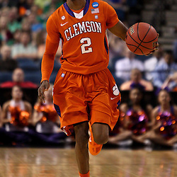 Mar 17, 2011; Tampa, FL, USA; Clemson Tigers guard Demontez Stitt (2) against the West Virginia Mountaineers during the first half of the second round of the 2011 NCAA men's basketball tournament at the St. Pete Times Forum.  Mandatory Credit: Derick E. Hingle