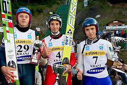Dawid Kubacki (POL), Robert Kranjec (SLO) and Vladimir Zografski (BOL) during Ski Jumping Summer Continental Cup in Kranj, on July 2, 2011, in Kranj, Slovenia. (Photo by Vid Ponikvar / Sportida)