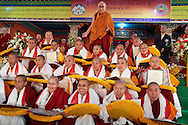 His Holiness the Dalai Lama with the first twenty nuns to receive a Geshe-ma degree at Drepung Lachi Monastery in Mundgod, Karnataka, India on December 22, 2016