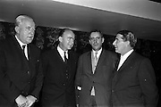 13/02/1963<br /> 02/13/1963<br /> 13 February 1963<br /> International Apprentices Competition Press Conference at the Shelbourne Hotel, Dublin to announce details of the International Trade Competitions for Apprentices to be held in Dublin from 8-13th July 1963. Picture shows (l-r): M. Gleeson, CEO, Chairman National Organising Committee; Dr P.J. Hillery, Minister for Education, who convened the conference; Padraig Breathnach, Principal officer, Technical Instruction Branch, Department of Education and John D. Barry (of Cobh) Department of Education, who is Director of Organisation.