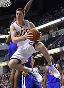 Feb. 28, 2012; Indianapolis, IN, USA; Indiana Pacers power forward Tyler Hansbrough (50) drives the ball on the baseline against the Golden State Warriors at Bankers Life Fieldhouse. Mandatory credit: Michael Hickey-US PRESSWIRE