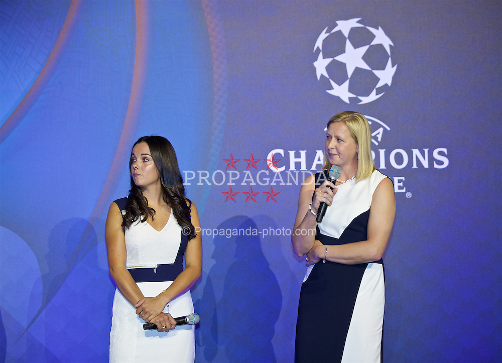 CARDIFF, WALES - Wednesday, August 31, 2016: Gwennan Harries and Jayne Ludlow during a gala dinner at the Cardiff Museum to launch the UEFA Champions League Finals 2017 to be held in Cardiff. (Pic by David Rawcliffe/Propaganda)