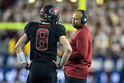 SANTA CLARA, CA - DECEMBER 05:  Head coach David Shaw of the Stanford Cardinal talks to quarterback Kevin Hogan #8 during the first quarter of the Pac-12 Championship game against the USC Trojans at Levi's Stadium on December 5, 2015 in Santa Clara, California. The Stanford Cardinal defeated the USC Trojans 41-22. (Photo by Jason O. Watson/Getty Images) *** Local Caption *** David Shaw; Kevin Hogan