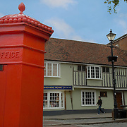 Listed buildings and red mailbox, faversham, Kent, England