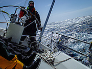 "Dave Moran drives J46 ""Riva"" in gale-force conditions two days out of San Franciso, racing to Hawaii in the 2070 nautical mile Pacific Cup 2016 ocean race."