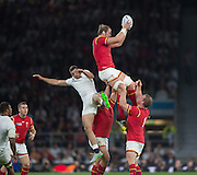 Twickenham, Great Britain, Alun WYN JONES, collect a clean high ball, challenged by Jonny MAY,    during the Pool A Game, England vs Wales.  2015 Rugby World Cup, Venue, The RFU Stadium, Twickenham, Surrey, ENGLAND. Saturday   26/09/2015  [Mandatory Credit; Peter Spurrier/Intersport-images]