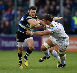 Jeff Williams of Bath Rugby takes on the Exeter Chiefs defence - Mandatory byline: Patrick Khachfe/JMP - 07966 386802 - 10/10/2015 - RUGBY UNION - The Recreation Ground - Bath, England - Bath Rugby v Exeter Chiefs - West Country Challenge Cup.