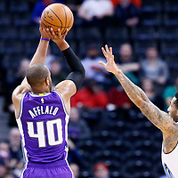 06 March 2017: Sacramento Kings guard Arron Afflalo (40) takes a jump shot over Denver Nuggets forward Wilson Chandler (21) during the Denver Nuggets 108-96 victory over the Sacramento Kings, at the Pepsi Center, Denver, Colorado, USA.