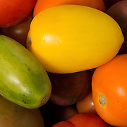 Concord, MA USA Aug 22x,2014. Colorful heirloom tomatoes at a farm stand