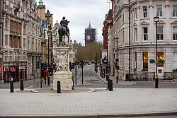 Some parts of central London are being left unusually quiet at times as consideration is given to social distancing during the COVID-19 pandemic. This is Whitehall in central London.
