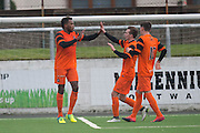 Dundee United trialist Felitciano Zschusschen is congratulated after scoring during Dundee v Dundee United in the SPFL Development League at Links Park, Montrose. Photo: David Young<br /> <br />  - &copy; David Young - www.davidyoungphoto.co.uk - email: davidyoungphoto@gmail.com