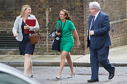 Downing Street, London, September 9th 2016.  Secretary of State for Culture, Media and Sport Karen Bradley (left), Lord Privy Seal and Leader of the House of Lords Baroness Natalie Evans  and Chancellor of the Duchy of Lancaster Patrick McLoughlin arrive at Downing street for the weekly cabinet meeting following the Parliamentary summer recess.