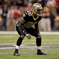 2009 November 02: New Orleans Saints cornerback Randall Gay (20) lines up for a play against the Atlanta Falcons during a 35-27 win by the Saints over the Falcons at the Louisiana Superdome in New Orleans, Louisiana.