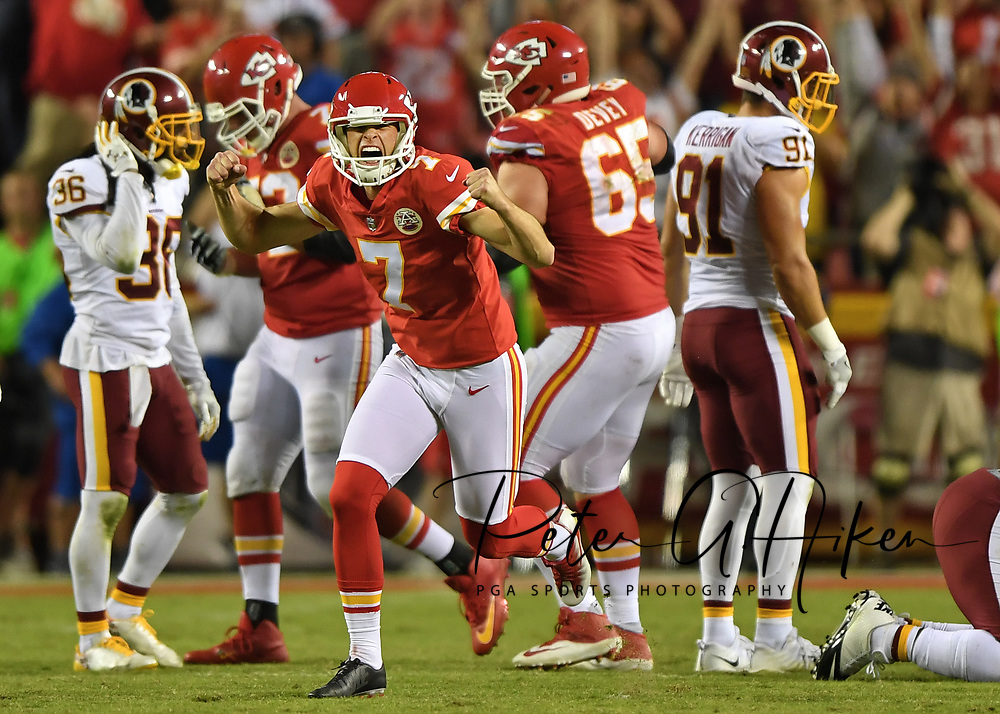 Kicker Harrison Butker #7 of the Kansas City Chiefs turns and celebrates after kicking the go ahead field goal with eight seconds left in the game against the Washington Redskins at Arrowhead Stadium in Kansas City, Missouri.