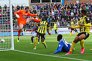 Jabo Ibehre scoring Carlisles second goal during the Sky Bet League 2 match between Carlisle United and Dagenham and Redbridge at Brunton Park, Carlisle, England on 12 September 2015. Photo by Craig McAllister.