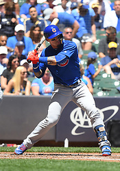June 13, 2018 - Milwaukee, WI, U.S. - MILWAUKEE, WI - JUNE 13: Chicago Cubs Second base Javier Baez (9) starts his swing during a MLB game between the Milwaukee Brewers and Chicago Cubs on June 13, 2018 at Miller Park in Milwaukee, WI. The Brewers defeated the Cubs 1-0.(Photo by Nick Wosika/Icon Sportswire) (Credit Image: © Nick Wosika/Icon SMI via ZUMA Press)