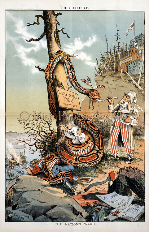 The Nation's Ward': Uncle Sam feeding Government Gruel to snake with head of a Native American, its body round a pioneer family. In background a homstead under attack, and a school for Native Americans. 'Judge Magazine', 1820.