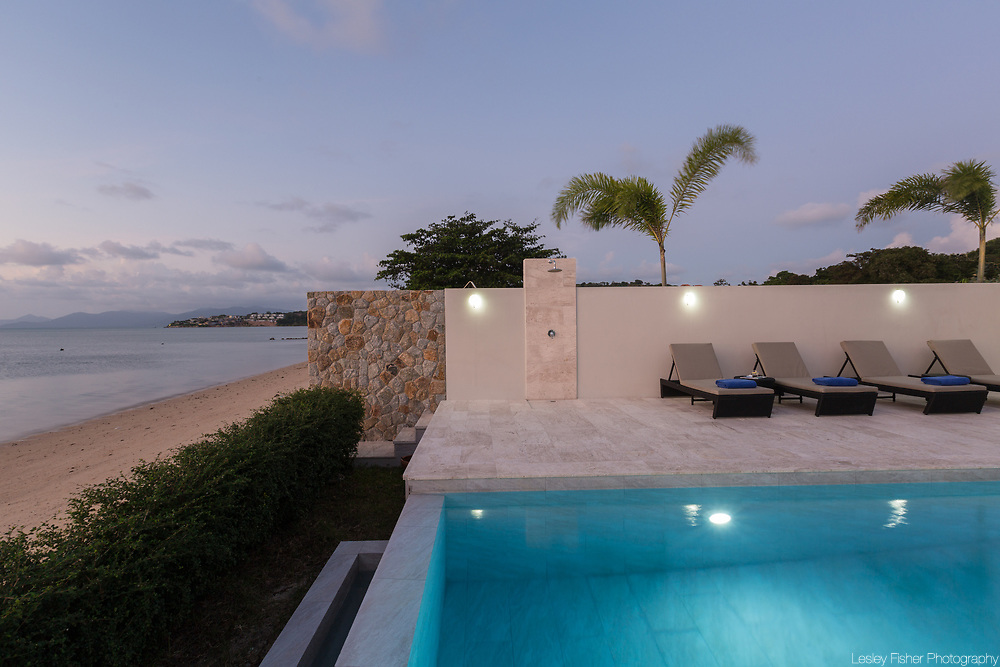 Sunset at Villa Song, a 2 bedroom beach front villa located in Plai Laem, Koh Samui, Thailand